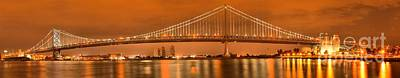Photograph - Evening Reflections Of The Ben Franklin Bridge by Adam Jewell