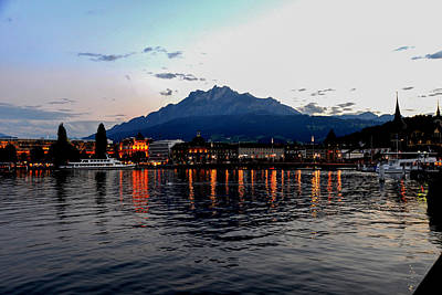 Photograph - Evening Reflections On Lake Lucerne by Marilyn Burton