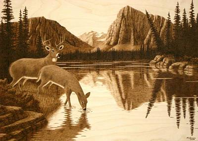 Pyrography Pyrography - Evening Reflections by Roger Jansen