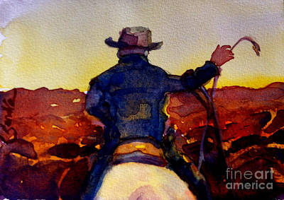 Steer Painting - Evening Roundup by Sandra Stone