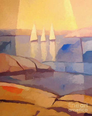 Abstractions Painting - Evening Sails by Lutz Baar