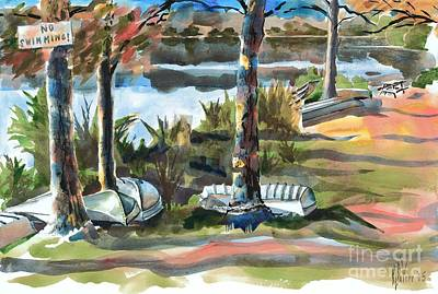 Lakeside Painting - Evening Shadows At Shepherd Mountain Lake  No W101 by Kip DeVore