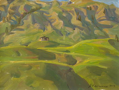 Evening Shadows Of Mountains Original by Victoria Kharchenko