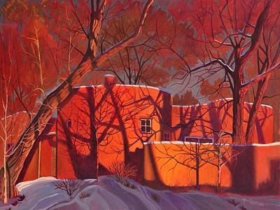 Snowed Trees Painting - Evening Shadows On A Round Taos House by Art James West