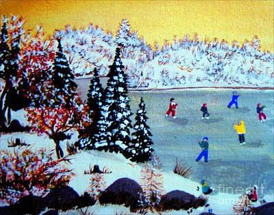 After School Hockey Digital Art - Evening Skating by Barbara Griffin