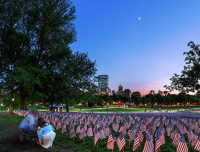 Evening Sky Over Memorial Day Flags Art Print by Babak Tafreshi