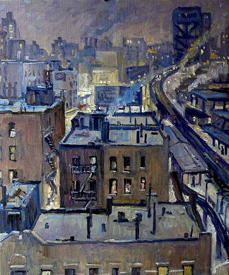 Harlem Wall Art - Painting - Evening Snow On Broadway Nyc by Thor Wickstrom