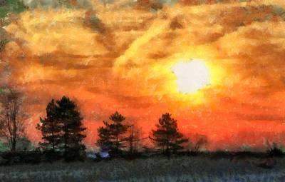 Evening Solace Sunset Silhouettes Art Print by Dan Sproul