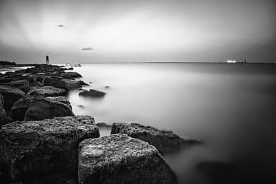 Evening Stillness Bw Print by Thomas Zimmerman