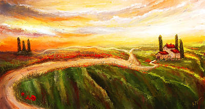 Tuscan Sunset Painting - Evening Sun - Glowing Tuscan Field Paintings by Lourry Legarde