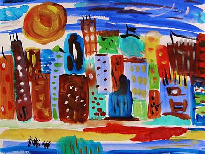 Mcw Drawing - Evening Sun Cityscape by Mary Carol Williams