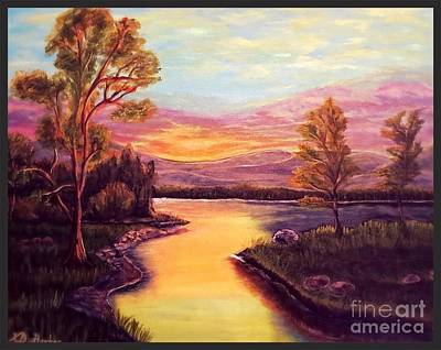 Evening Sun Sets Over A Lake Somewhere Off The Gulf Of Mexico Art Print