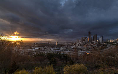 The Wheel Photograph - Evening Sunlit Seattle Skyline by Mike Reid