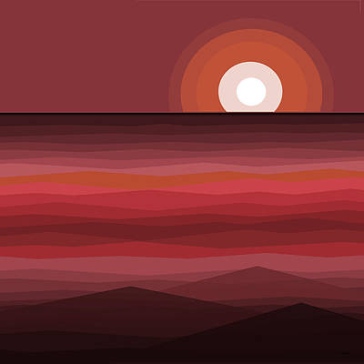 Color Block Painting - Evening Sunset by Val Arie