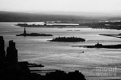 Evening Sunset View Of Liberty And Ellis Island Islands New York City Bay Usa Print by Joe Fox