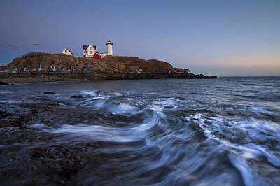 Evening Surf At Nubble Art Print by Eric Gendron