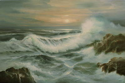 Incoming Tide Painting - Evening Tide by Richard Hinger