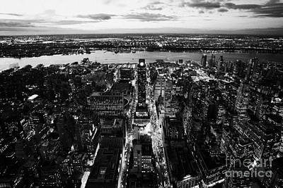 Manhaten Photograph - Evening View Of Manhattan West Towards Hudson River And One Penn Plaza Night New York City by Joe Fox