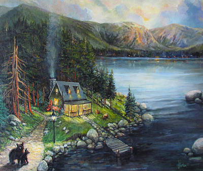 Log Cabins Painting - Evening Visitors by Donna Tucker