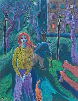 Ginger Cat Photograph - Evening Walk, 2005 Pastel On Paper by Marta Martonfi-Benke