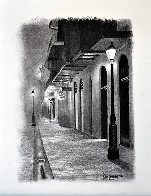 Evening Walk Down Pirate Alley Original by Ron Landry