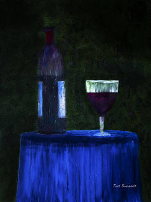 Stemware Painting - Evening Wine by Dick Bourgault