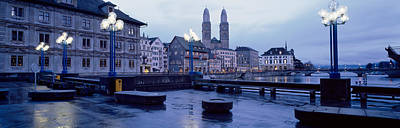 Limmat Photograph - Evening, Zurich, Switzerland by Panoramic Images