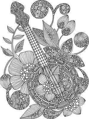 Fun Flowers Drawing - Ever Banjo by Valentina Harper