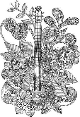 Fun Flowers Drawing - Ever Guitar by Valentina Harper