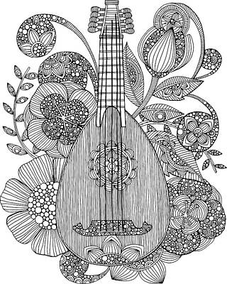 Flower Design Drawing - Ever Mandolin by Valentina Harper