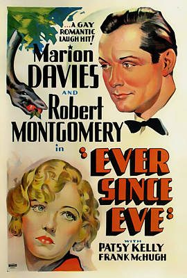 Show Mixed Media - Ever Since Eve Movie Poster 1937 by Mountain Dreams