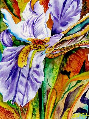 Garden Painting - Everblooming Florida Iris by Lil Taylor