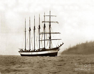 Photograph - Everett G. Griggs Sailing Ship Washington State 1905 by California Views Mr Pat Hathaway Archives