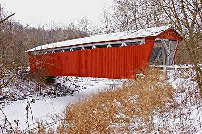 Priska Wettstein Land Shapes Series - Everett Rd. Covered Bridge in Winter by Jack R Perry