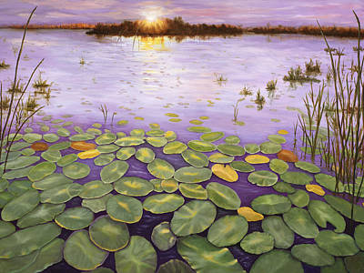 Art Print featuring the painting Everglades Evening by Karen Zuk Rosenblatt