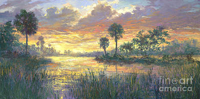 Wetlands Painting - Everglades Sunrise by Laurie Hein