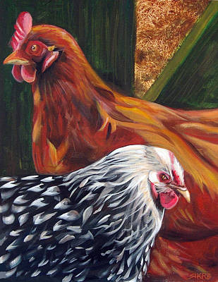 Painting - Evergreen Hens by Sherry Harris Erb