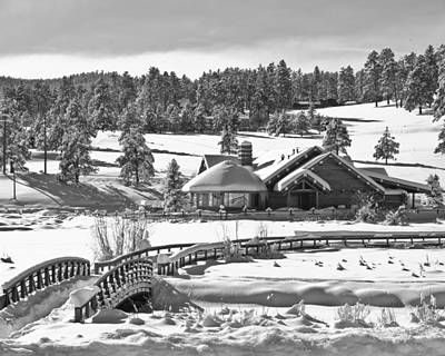 Evergreen Lake House Winter Art Print by Ron White