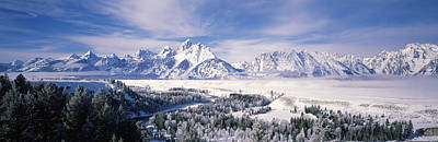 Teton Photograph - Evergreen Trees On A Snow Covered by Panoramic Images