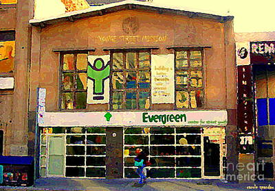 Painting - Evergreen Yonge St  Scenes Building A Better Toronto One Person At A Time Community Center Cspandau by Carole Spandau
