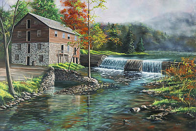 Grist Mill Painting - Everhart's Mill by Christopher Lyter