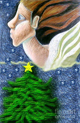 Drawing - Everseeing Christmas Angel by Genevieve Esson