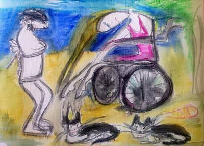 Wheelchair Painting - Every Picture Tells A Story by Judith Desrosiers