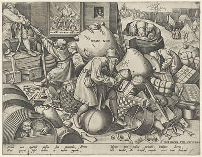 Game Piece Drawing - Everyman, Pieter Van Der Heyden, Pieter Brueghel by Pieter Van Der Heyden And Pieter Brueghel (i) And Hieronymus Cock