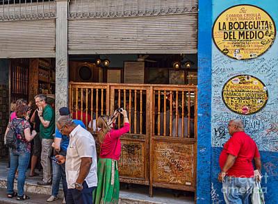 Studio Grafika Vintage Posters - La Bodeguita in Havana - Good Time For All At Hemmingway Bar by Les Palenik