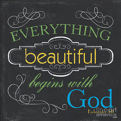Bible Verse Painting - Everything Beautiful by Debbie DeWitt