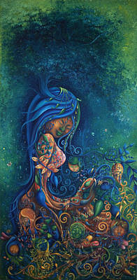 Cambodian Painting - Everything Grows From Her by Touch Khchao