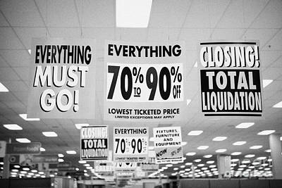 everything must go total liquidation closing signs in a store in Saskatoon saskatchewan canada Art Print by Joe Fox