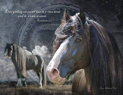Gypsy Horses Digital Art - Everything On Earth With Verse by Terry Kirkland Cook