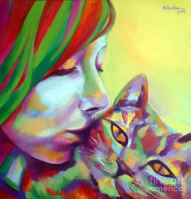 Evi And The Cat Original by Helena Wierzbicki